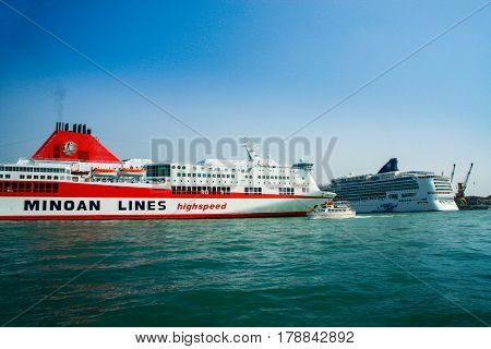 VENICE ITALY - SEPTEMBER 12 2008: Ferry Ikarus Palace of Greek company Minoan Lines stays at port moorage in Venice Italy on September 12 2008.