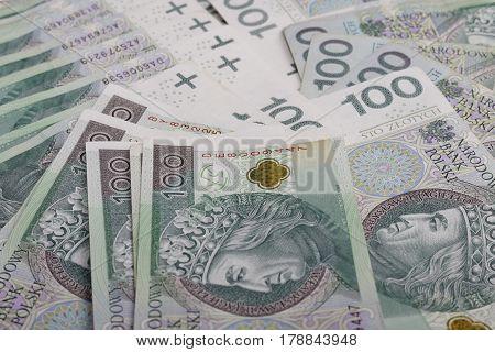 Polish Zloty Trading Business Theme. Polish Zloty Closeup. One Hundred Zloty Bills. Polish Currency.