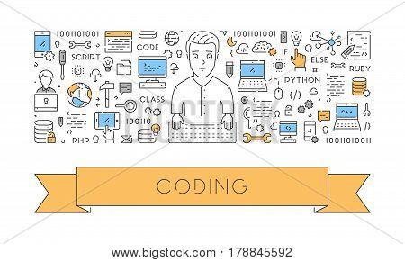 Line web banner for coding. Modern linear concept for programming.