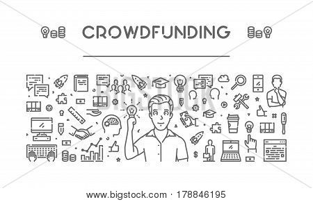Vector line web banner for crowdfunding. Modern linear concept for fundraising.