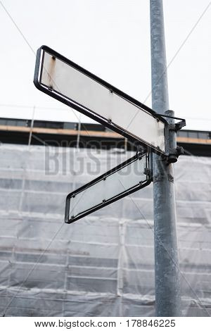 old blank street signboard , vertical composition
