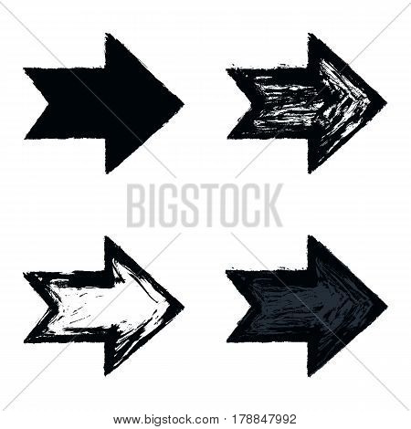 Set of four black arrow sign painted by painting brushstroke. Ink sketch drawing created in handmade technique. Quick and easy recolor graphic element in technique vector illustration