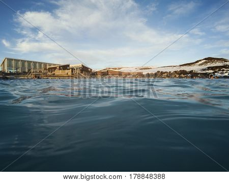 Natural blue lagoon, natural bath geothermal spa in Iceland