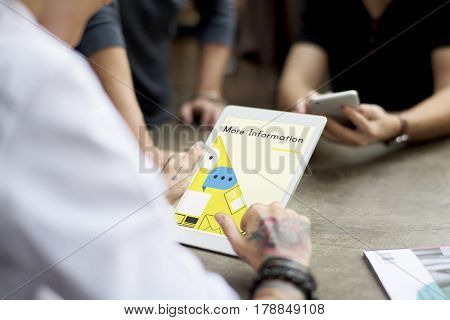 People working on digital device network graphic overlay