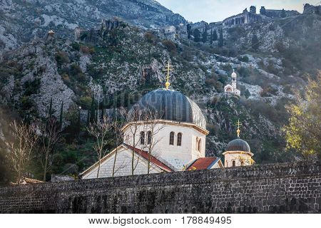 The fortified wall and church in old town Kotor Montenegro