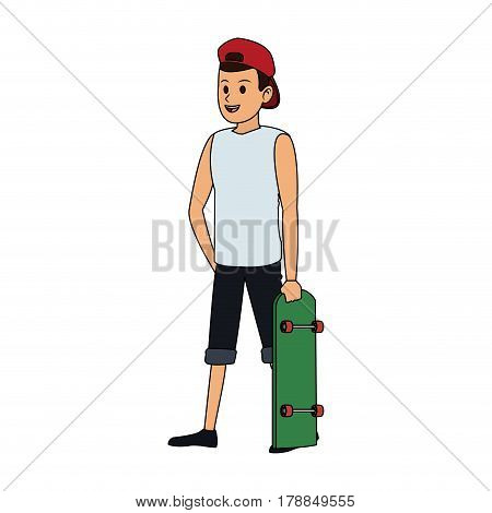 happy young man with sleeveless shirt and backwards hat  icon image vector illustration design