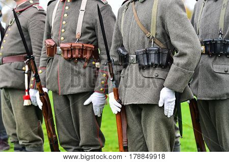 Soldiers In Uniforms During Military Reenactment