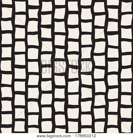 Vector Seamless Black and White Hand Drawn Rectangle Pavement Pattern. Abstract Freehand Background Design.