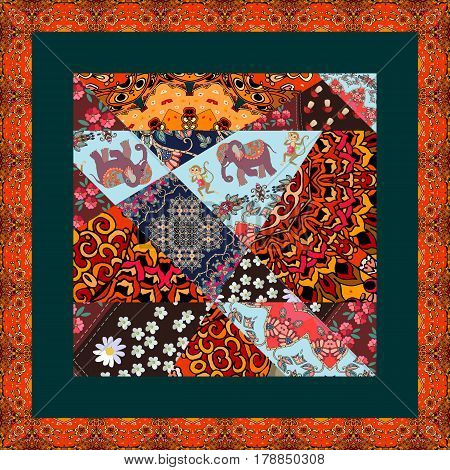 Beautiful patchwork blanket with cheerful monkeys, cute cartoon elephants and bright geometric prints. Unusual tablecloth with ornamental frame.