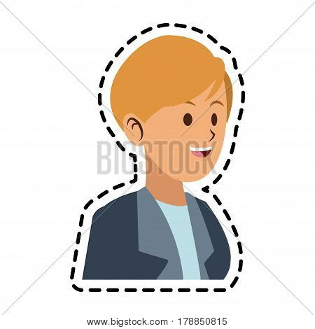 happy blonde woman with blazer icon image vector illustration design