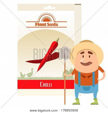 Vector image of the Pack of Chilli seeds icon