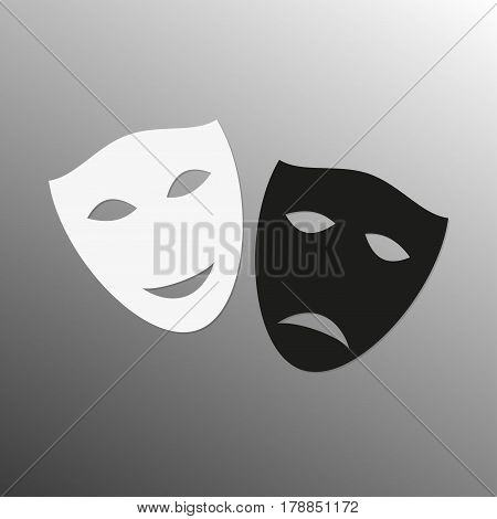 Mask icon. Theater symbol. Happy and sad masks. Black and white theatrical masks. Carnival masks. Vector illustration.