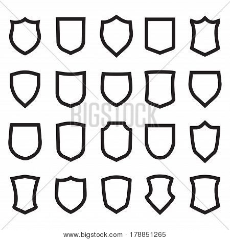 Shield icons set. Different shield shapes. Vector shield frames.