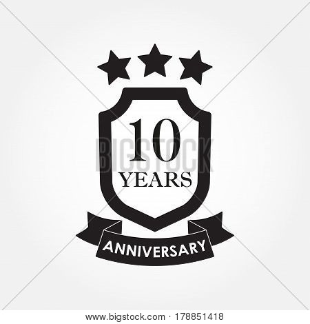 10 years anniversary icon or emblem. 10th anniversary label. Celebration invitation and congratulation design element. Vector illustration