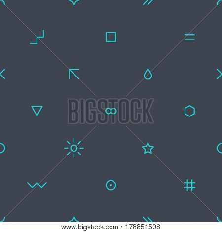 Abstract seamless pattern with green color simple shapes created in flat thin style on dark gray background. You can quickly and easily repaint this vector illustration