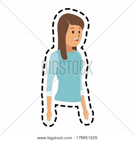 happy brunette woman with baby blue sweater icon image vector illustration design