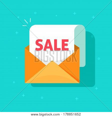 Newsletter email sale promotion vector concept, open envelope and white paper document sheet with sale discount announcement text, e-mail marketing, flat cartoon style