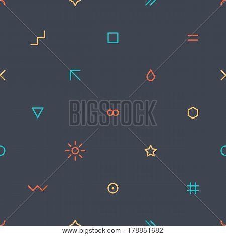 Abstract seamless pattern with green red yellow blue colors shapes in flat thin style on gray background. You can quickly and easily repaint this vector illustration