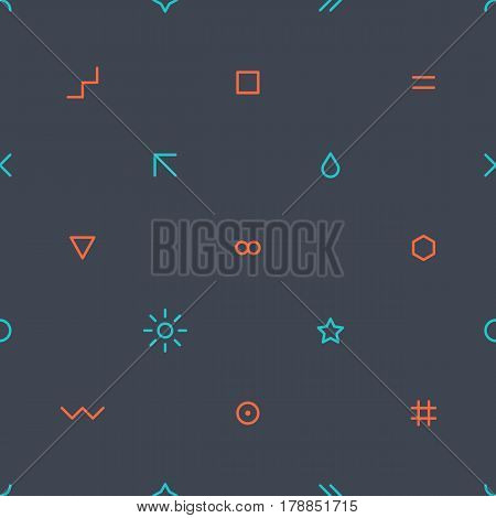 Abstract seamless pattern with green and red colors simple shapes in flat thin style on dark gray background. You can quickly and easily repaint this vector illustration