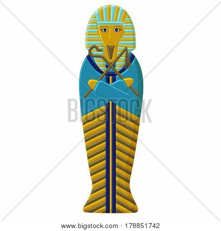 The tomb of the pharaoh of ancient Egypt. Gold Sarcophagus of the Faro. Mummy of the Egyptian ruler.