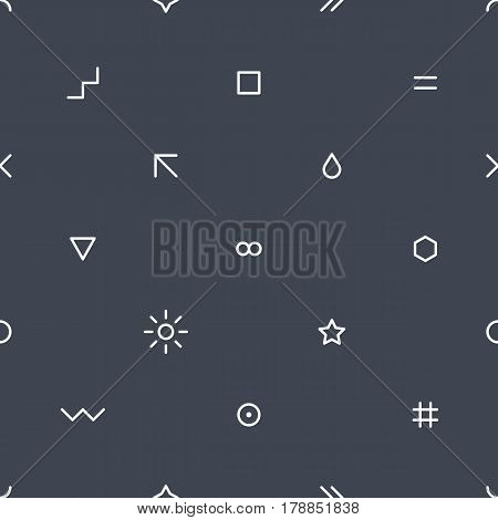 Abstract seamless pattern with white colors shapes in flat thin style on gray background. You can quickly and easily repaint this vector illustration