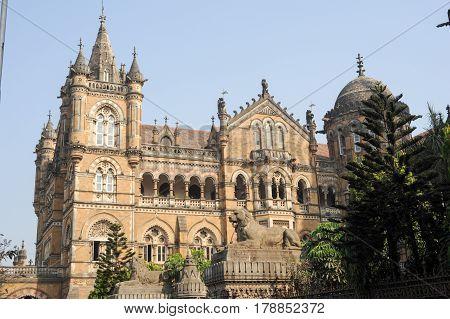 Mumbai India - 5 january 2015: Chhatrapati Shivaji Terminus formerly Victoria station at Mumbai india