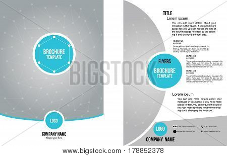 Technology brochure design template vector, blue and yellow presentation portfolio. minimal cover book layout.