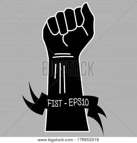 Vector black and white illustration of a hand clenched into a fist and a yellow ribbon with an inscription fist - EPS10 on a gray background.