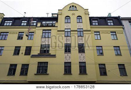 Riga, Terbatas 9-11, elements of the facade in the Art Nouveau style. Architect Constantin Peckshens.