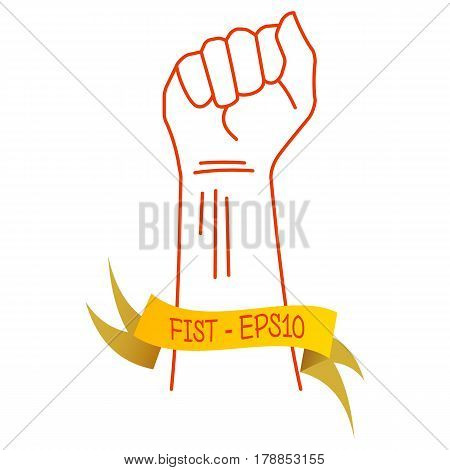 Vector illustration of a red thin line of hands clenched in fist and a yellow ribbon with an inscription FIST - EPS10 on white background.