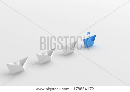 Leadership concept blue leader boat standing out from the crowd of white boats on white background. 3D rendering.