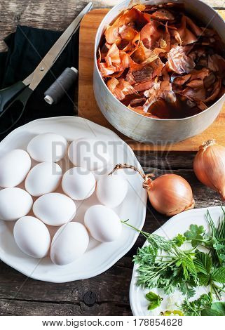 Set For Homemade Decoration Of Easter Eggs