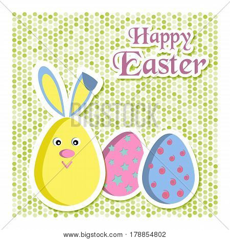Happy Easter greeting card with colored eggs and rabbit or bunny. Vector illustration. Usable for design invitation banner background poster.