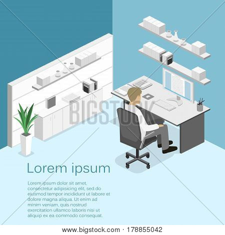 Flat 3D Isometric Abstract Office Floor Interior Departments Concept.