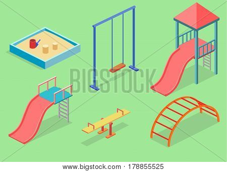 Isometric flat 3D concept web vector kids playground set. children swings slide sandbox and other objects