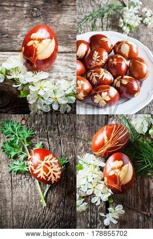 Set Ecological Homemade Decoration Easter Eggs