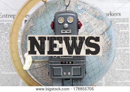 retro robot reads the news