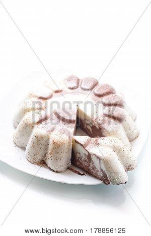 sweet milk chocolate panna cotta on a plate