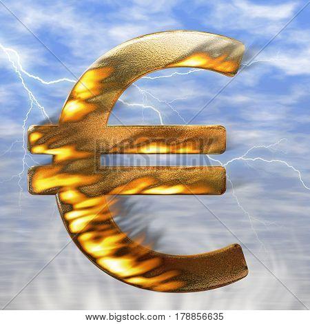 Euro symbol on fire - Fire illustration