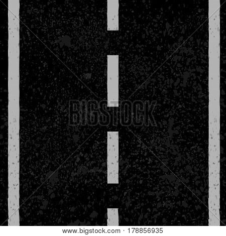 Black asphalt grunge road with white lines