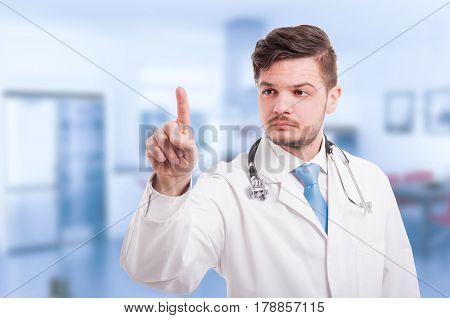 Doctor Hand Touching Empty Virtual Screen