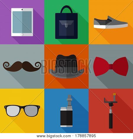 Set of simple hipster accessory flat icons on color squares vector illustration