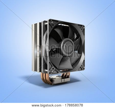 Active Cpu Cooler With The Aluminum Finned Heat-sink And The Fan 3D Render On Blue