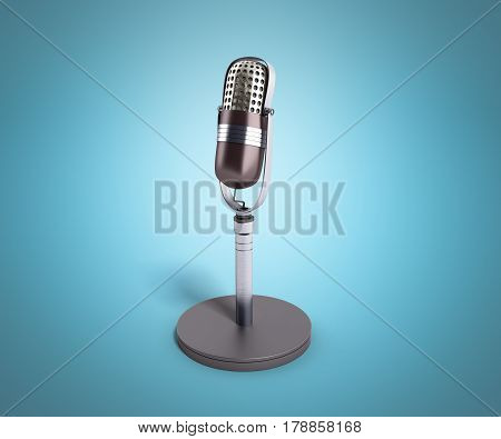 Vintage Silver Microphone On Blue  Background 3D Render