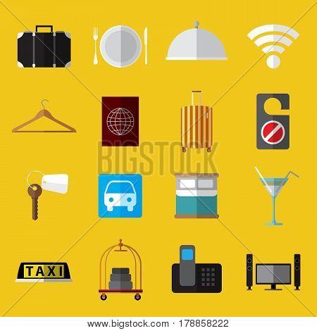 Set os simple modern hotel symbols flat icons on yellow background vector illustration