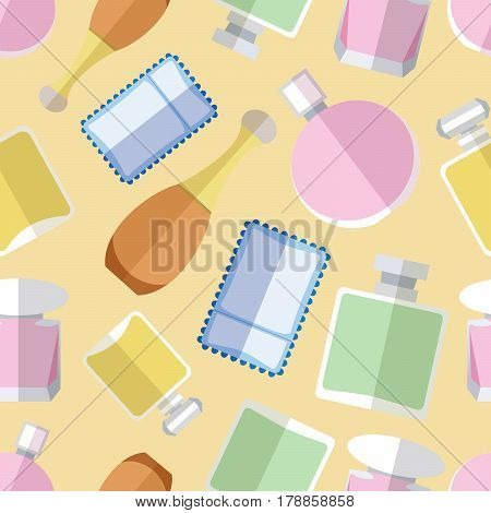 Seamless pattern background with simple perfumery flat icons vector illustration
