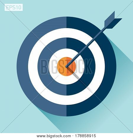 Target icon in flat style on color background. Arrow in the center. Vector design element