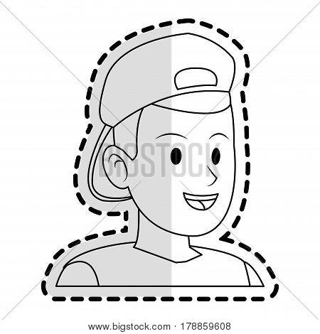 happy man with backwards cap  icon image vector illustration design
