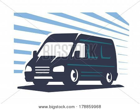 emblem lorry silhouette vector on blue background