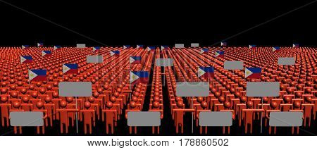 Crowd of people with signs and Philippines flags 3d illustration